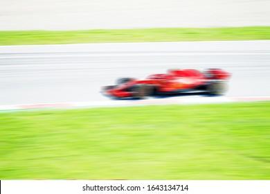 F1レースカー、非常に速く通過、カースポーツ、ぼやけた背景、レーシング写真、フォーミュラ1、フェラリf1、グランプリ