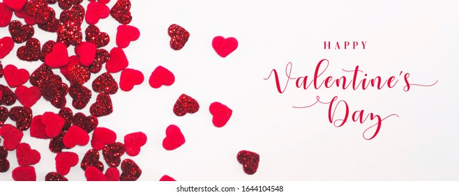 Happy Valentine's Day - Banner with Red Glittery Hearts on White Background