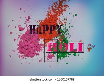 design of Happy Holi celebration on color powder .Holi is color festival of India