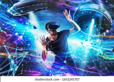 Schockierter Junge spielt mit Online-UFO-Videospielen. Konzept von Technologie und Unterhaltung
