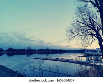 Romantic sunset at lake side
