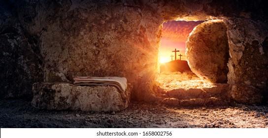 日の出のシュラウドとはりつけで空の墓-イエス・キリストの復活