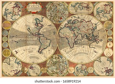 Great Detail of the world map in vintage style with mountains, trees, cities and main rivers on a old parchment background.