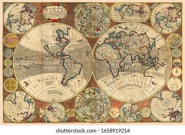 Großes Detail der Weltkarte im Weinlesestil mit Bergen, Bäumen, Städten und Hauptflüssen auf einem alten Pergamenthintergrund.