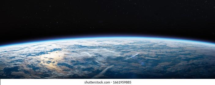 Planet Erde im dunklen Weltraum. Zivilisation. Breites horizontales Bild. Elemente dieses Bildes von der NASA eingerichtet