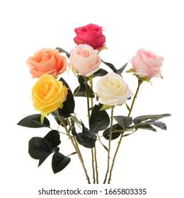 白い背景の上のさまざまな色のバラの花束。