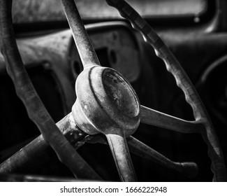 Old Truck Steering Wheel in Black & White