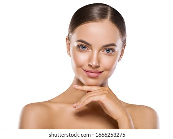 Beautiful face woman clean fresh skin natural make up beauty female