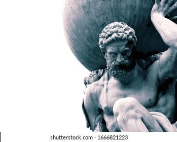 地球儀を肩に抱えているギリシャ神話の神アトラスの像。カラー調色付き