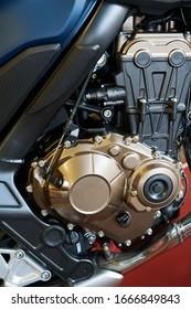 Fondo de detalle de primer plano de motor de motocicleta.