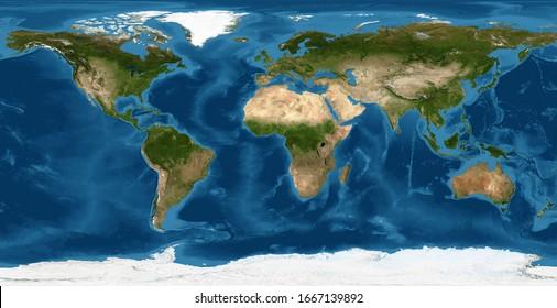Flache Ansicht der Erde aus dem Weltraum. Detaillierte physische Weltkarte auf globalem Satellitenfoto. Panorama-Planetenkarte mit Texturoberfläche. Elemente dieses Bildes von der NASA eingerichtet.