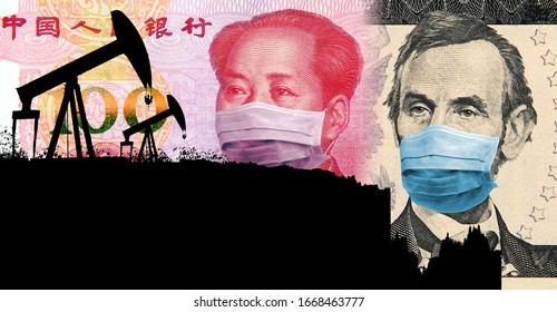 コロナウイルスによって引き起こされた石油価格戦争。石油価格は暴落しています。石油価格対米ドルのチャートに変換されるオイルポンプのシルエット(2020年3月現在)。フェイスマスク付きのドルと元。