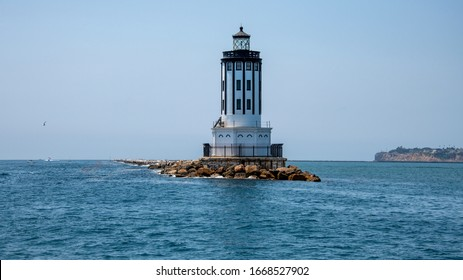 Angels Gate Lighthouse at the entrance to the Port of Los Angeles LA at San Pedro California
