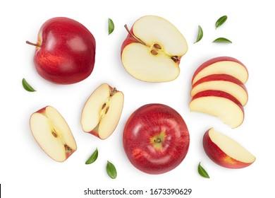 クリッピングパスと完全な被写界深度で白い背景に半分分離された赤いリンゴ。上面図。フラットレイ。セットまたはコレクション