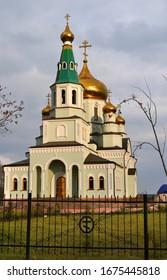 Kirche St. Sergius von Radonezh in der kleinen Stadt Topki, Region Kemerowo in Russland