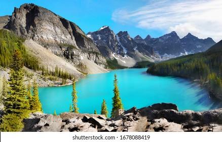 Hermosas montañas altas y vista turquesa del lago Moraine en un día soleado, paisaje del Parque Nacional Banff. Montañas Rocosas Canadienses, Alberta Canadá