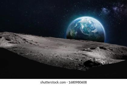 Mondoberfläche mit dunkler Seite. Erde auf Hintergrund. Elemente dieses Bildes von der NASA eingerichtet.