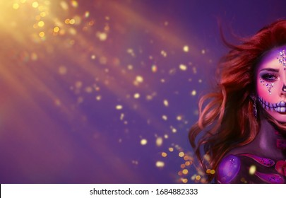 Close Up portrait woman sugar skull, half face. Long Red hair flies in wind. Holiday halloween makeup shiny rhinestones. Banner Free space for text background sparkling glowing glitter. Artwork Poster