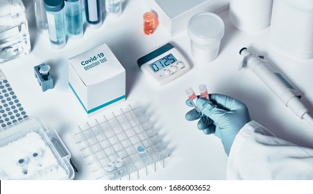 Novel coronavirus 2019 nCoV RT-PCR diagnostics kit. Reagents, primers and control samples to detect presence of 2019-nCoV or covid19 virus. In vitro diagnostic test based on real-time PCR technology.