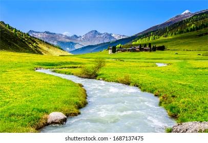 Paisaje del arroyo del río del valle verde de la montaña. Arroyo del río en el valle de la montaña. Arroyo del valle de la montaña. Paisaje del valle de montaña