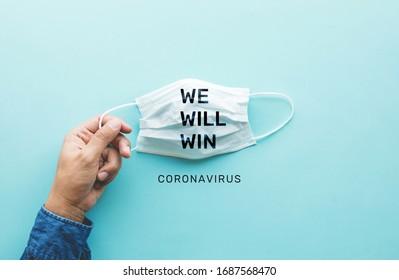WIJ ZULLEN WINNEN op coronavirus, covid-19-uitbraak over de hele wereld. Lichaamsgezondheidszorg. Medische apparatuur. Vraag en aanbod. Hoop en oplossing. Grote veranderingssituatie, Bescherm uzelf met masker