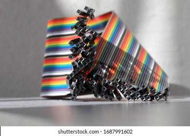 paquete de cables de puente arcoiris. cable famale-famele. paquete de cables de colores