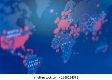 Coronavirus kartiert Krankheitslage 2019 Aktualisierung der weltweiten Verbreitung von Coronaviren, Weltkarte Coronavirus oder Covid-19 Nahaufnahmen mit Covid-19, Covid 19 Karte bestätigte Fälle, die weltweit weltweit gemeldet wurden