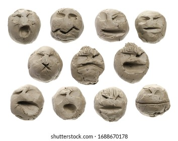 Establecer escultura de arcilla de modelado, expresión facial emoción aislada sobre fondo blanco