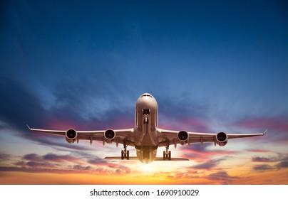 日没の光の中で飛んでいる乗客の商用飛行機。高速旅行、休日、ビジネスの概念。