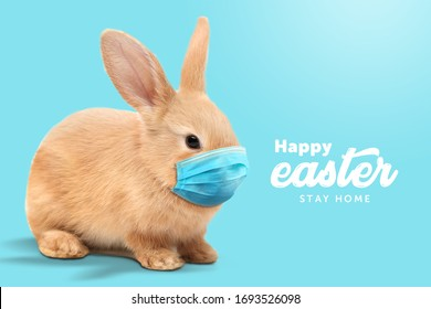 Creative minimal Happy Easter design  the rabbit inside of home line with mask for coronavirus (Covid-19) colorful eggs around the composition shows message Happy easter and stay home. (Twitter size)