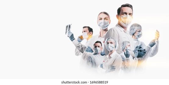 equipo de médicos hombres y mujeres que luchan contra enfermedades y virus