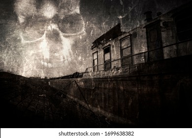 Ghost ship. Haunted ,abandoned shipwreck stranded at the river bank. Scary evil skull in the sky. Vintage, worn and scratched film look