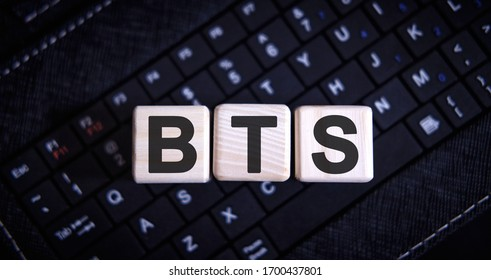 BTS word concept on cubes on the keyboard