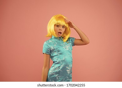 Hobby and entertainment. Pop culture. Anime fan. Child cute cosplayer. Anime emotional expression. Anime admirer. Girl yellow wig. Cosplay character concept. Japanese style. Eastern trends for teens.