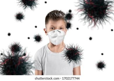 マスクの男の子の子供は、白い背景の上の空中を飛んでいるウイルス粒子から身を守ります。コロナウイルス、COVID-19、隔離、検疫、パンデミック制御、エピデミック。ミクストメディア