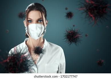 マスクの女の子は、空を飛んでいるウイルスの粒子から保護されています。コロナウイルス、COVID-19、隔離、検疫、パンデミック制御、エピデミック。ミクストメディア