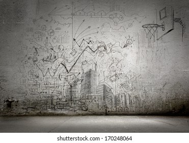 Hintergrundbild mit Skizzen und Zeichnungen auf grauer Wand