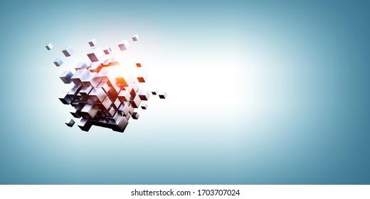 輝く立方体。イノベーションと創造性の概念