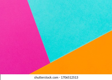 Abstract blue pink and orange color paper geometry composition background. Copy space. Free space for text.