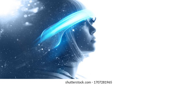Beautiful woman in futuristic costume over white background. Girl in 3d glasses of virtual reality. Augmented reality, game, future technology, AI concept. VR. Blue neon light.
