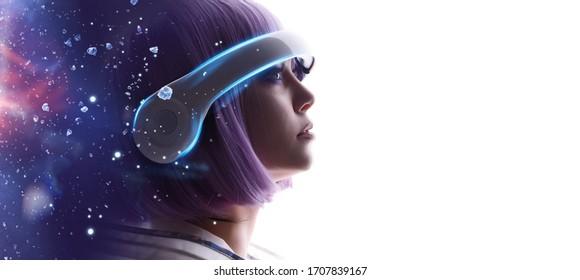 หญิงสาวสวยผมสีม่วงในชุดล้ำยุคบนพื้นหลังสีขาว หญิงสาวในแว่นตาเสมือนจริง ความเป็นจริงที่เพิ่มขึ้นเกมเทคโนโลยีในอนาคตแนวคิด AI VR แสงนีออนสีฟ้าสีม่วง