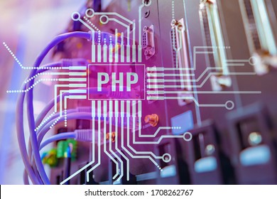 PHP logo made of circuit board lines. Chip silhouette with PHP inscription. Network hardware. Concept - PHP programmer search. Concept - search for a specialist in website development.
