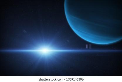 Ansicht des Planeten Neptun aus dem Weltraum. Weltraum, Sonne und Planet Neptun. Dieses Bild Elemente von der NASA eingerichtet.