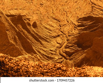 Fantastic martian landscape. A Deserted terrestial planet in orange colors. abandoned Quarry Of Rummu, Estonia. Scenic View Of Land. Mountain of white sand.and stones. Panoramic View. The erosion of
