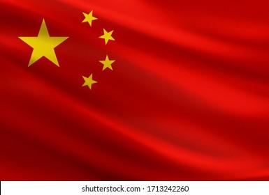 China-Flagge mit Stoffbeschaffenheit