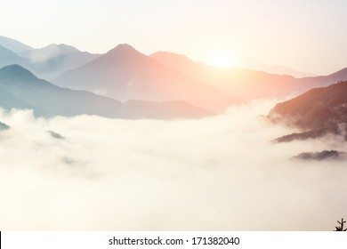 fog and cloud mountain valley landscape, china