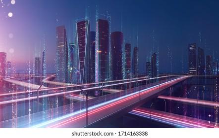 La ciudad inteligente y el punto abstracto se conectan con el diseño de la línea, el concepto de tecnología de conexión de datos grandes. Se aplica el efecto de desenfoque.