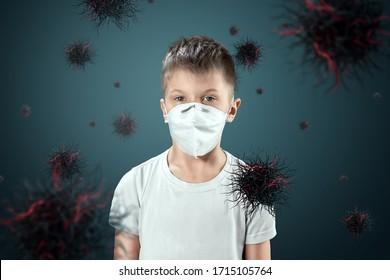 マスクをした男の子は、空中を飛ぶウイルス粒子から身を守ります。コロナウイルス、COVID-19、隔離、検疫、パンデミック制御、エピデミック。ミクストメディア