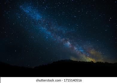 Cielo estrellado, espacio. Vía Láctea, constelación de estrellas. Paisaje y ahorrador, Astrofotografía