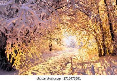 Sonnenuntergangansicht des Winterschneewaldtunnels. Sonnenuntergang Winterwald Tunnelbäume. Sonnenuntergang im Winterwald. Winter Sonnenuntergang Bäume Tunnel